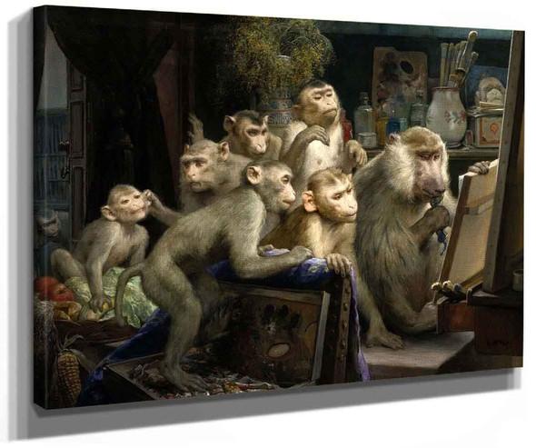 Monkeys And Painting By Gabriel Cornelius Ritter Von Max