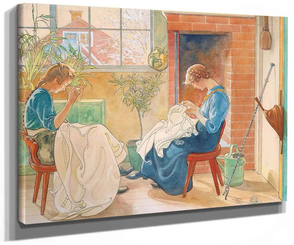 Sewing Girls By Carl Larssonv