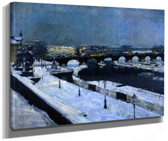 The Augustus Bridge In Dresden In Winter By Gotthardt Kuehl