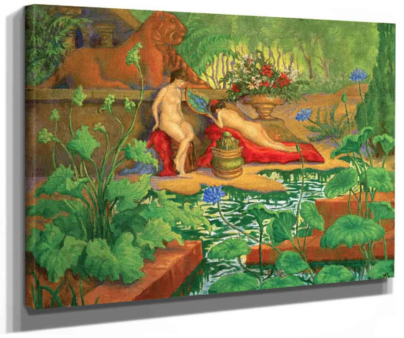Two Female Nudes With Lions (Also Known As Nude With Lions) By Paul Ranson
