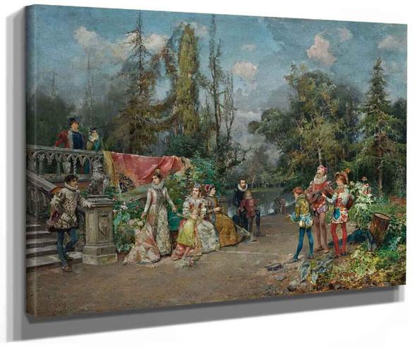 Venetian Court Ministrel Scene By Cesare Augusto Detti