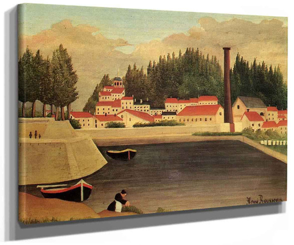 Village Near A Factory By Henri Rousseau
