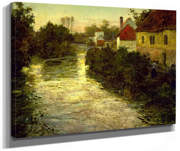 Village On The Bank Of A Stream By Fritz Thaulow
