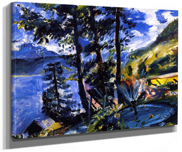 Walchensee With Fountain By Lovis Corinth