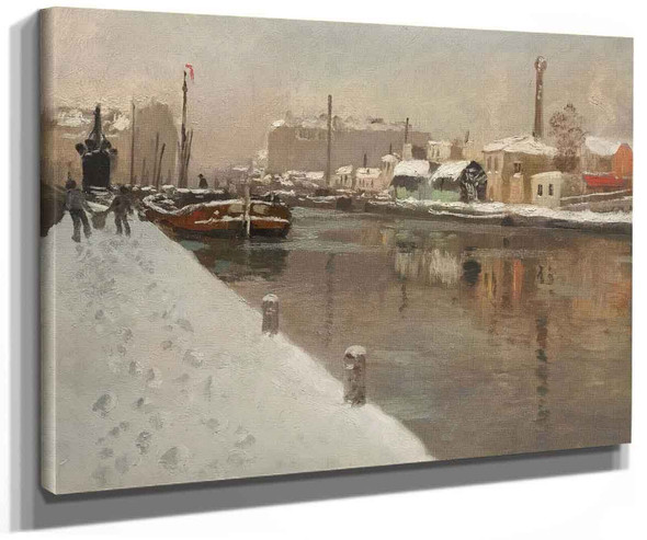 Winter In The Harbor By Fritz Thaulow
