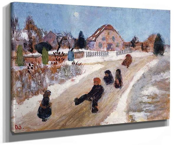 Winter Landscape With Children Sledding By Paula Modersohn Becker
