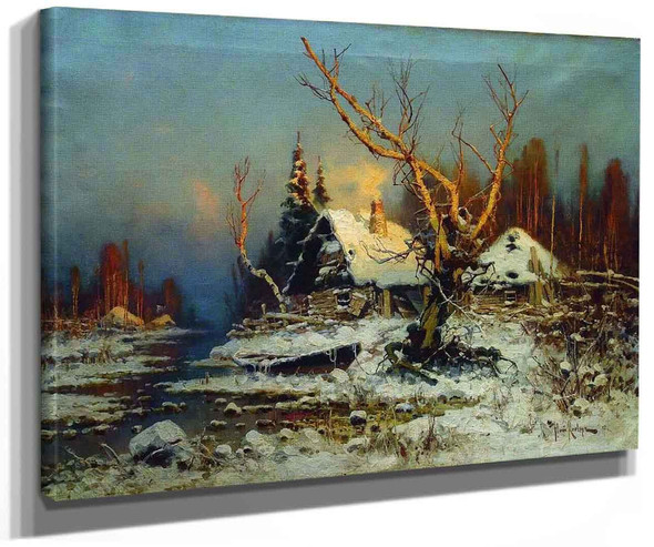 Winter Landscape With House By Julius Klever