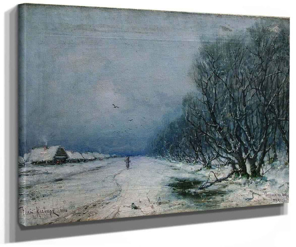 Winter Landscape With Road By Julius Klever
