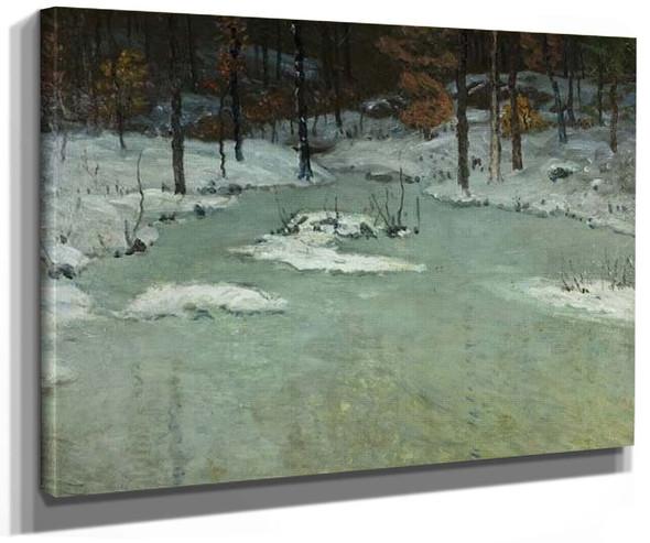 Winter Woods And Brook By John Joseph Enneking