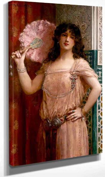 An Oriental Beauty Hoding A Pink Fan By Leon Francois Comerre