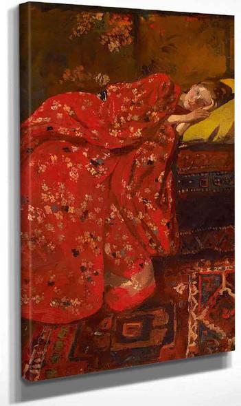 Girl In A Red Kimono (Geesje Kwak) By George Hendrik Breitner