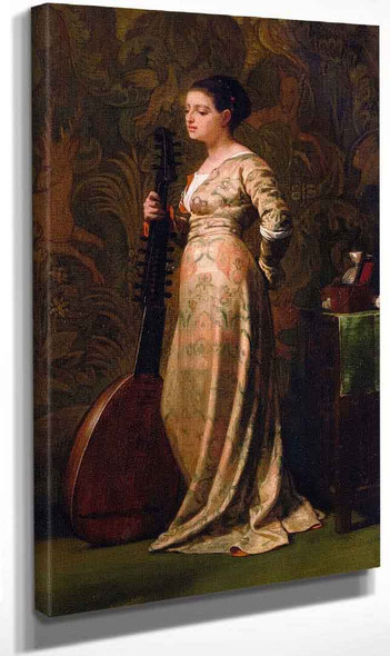 Girl With A Lute By Elihu Vedder
