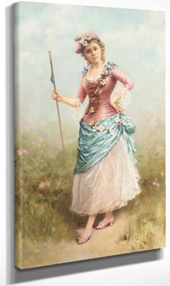 Lady Dressed As A Shepherdess By Emile Eisman Semenowsky