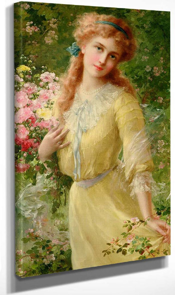 Portrait Of A Girl By Emile Vernon