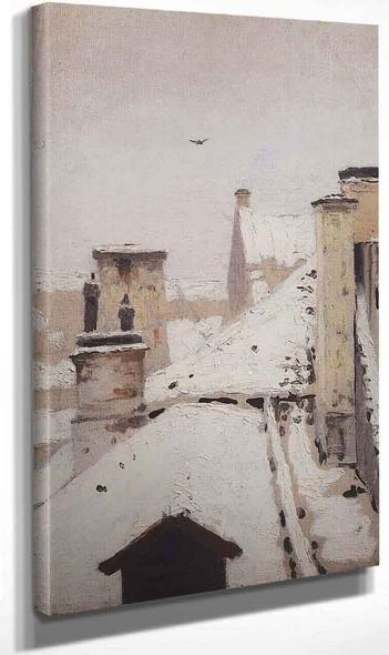 Roofs Winter By Arkhip Ivanovich Kuindzhi