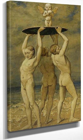 Spring Awakening. Three Young Men At The Beach By Hans Thoma