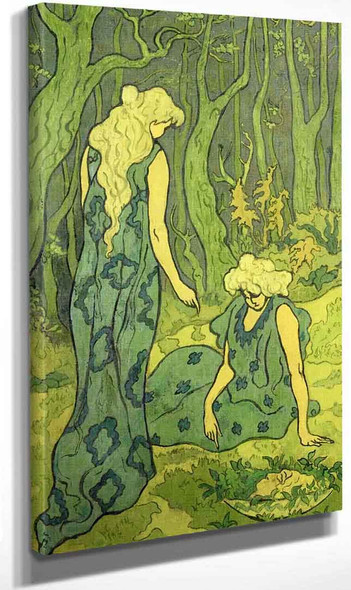 Two Girls Next To The Head Of Orpheus By Paul Ranson