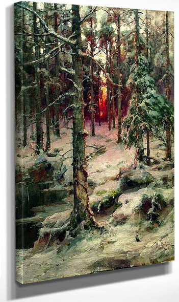Winter In The Pine Forest By Julius Klever
