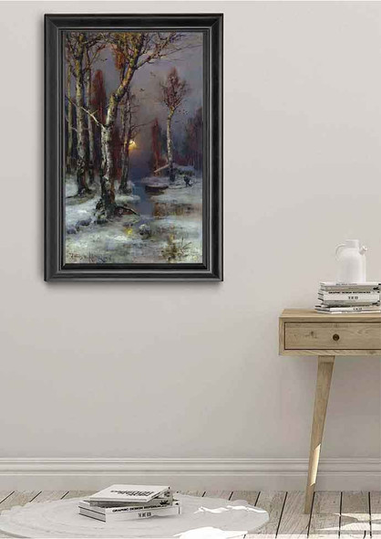 Winter Landscape With Forest Stream By Julius Klever