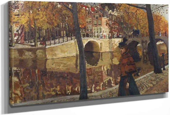 An Elegant Lady Strolling Along A Canal In Amsterdam by George Hendrik Breitner