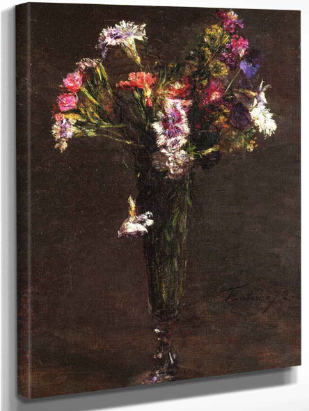Flowers Carnations And Hyacinth In A Champagne Flute By Henri Fantin Latour By Henri Fantin Latour