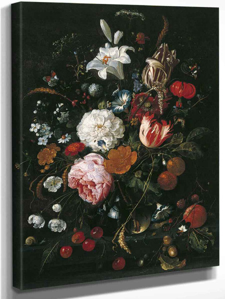 Flowers In A Glass Vase With Fruit By Jan Davidszoon De Heem By Jan Davidszoon De Heem