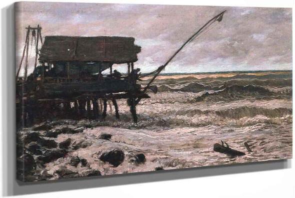 Fishing Hut Off Pierced Viareggio Italy by Elihu Vedder