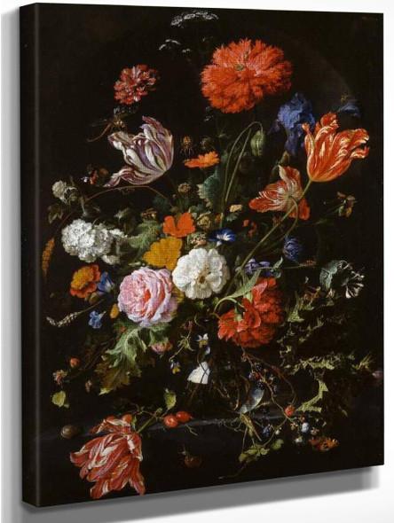 Flowers In A Glass Vase By Jan Davidszoon De Heem By Jan Davidszoon De Heem