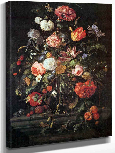 Flowers In Glass And Fruits By Jan Davidszoon De Heem By Jan Davidszoon De Heem