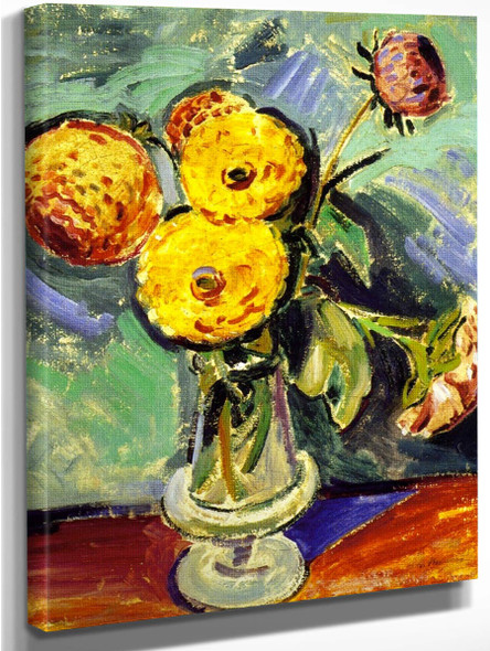 Flowers In Glass Vase By Alfred Henry Maurer By Alfred Henry Maurer