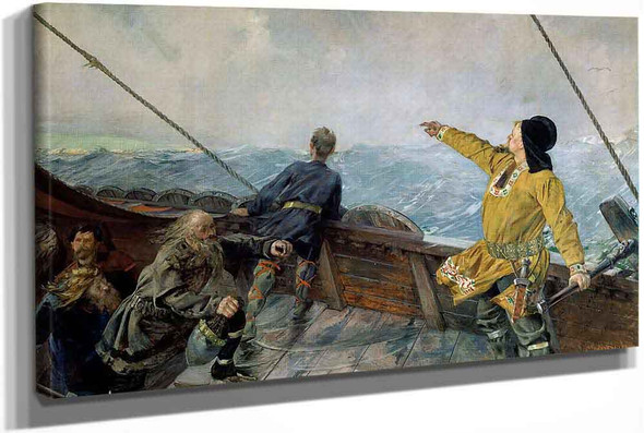 Leif Eriksson Sights Land In America by Christian Krohg