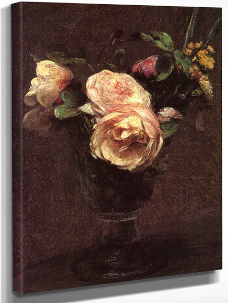 Flowers Roses And Mimosa By Henri Fantin Latour By Henri Fantin Latour