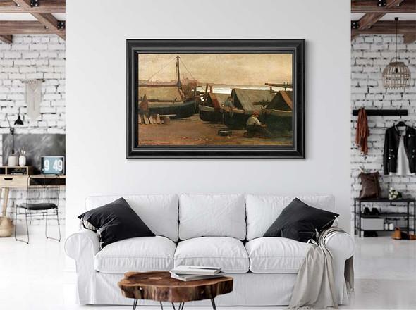Men At Boat Dock by Elihu Vedder