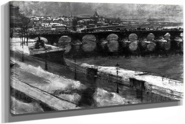 The Augustus Bridge In Dresden In Snow (Also Known As Die Augustusbrücke In Dresden Im Schnee) by Gotthardt Kuehl