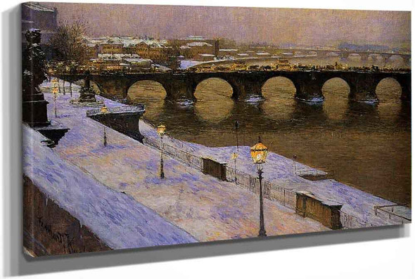 The Augustus Bridge In Dresden In Snow by Gotthardt Kuehl