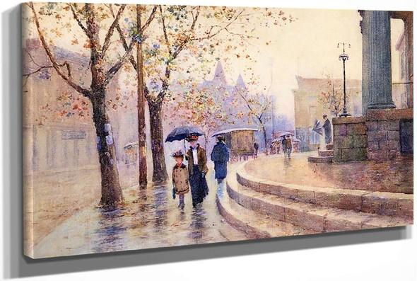 Walking In The Rain by Paul Sawyier