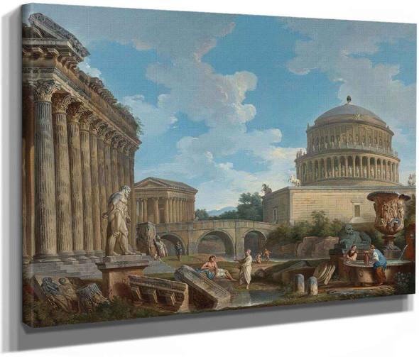 A Capriccio Of Hadrians Mausoleum The Temple Of Fortuna Virilis by Giovanni Paolo Panini