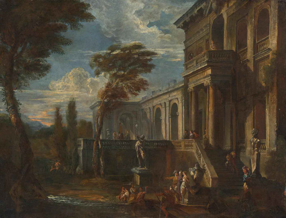 An Architectural Capriccio With Figures by Giovanni Paolo Panini