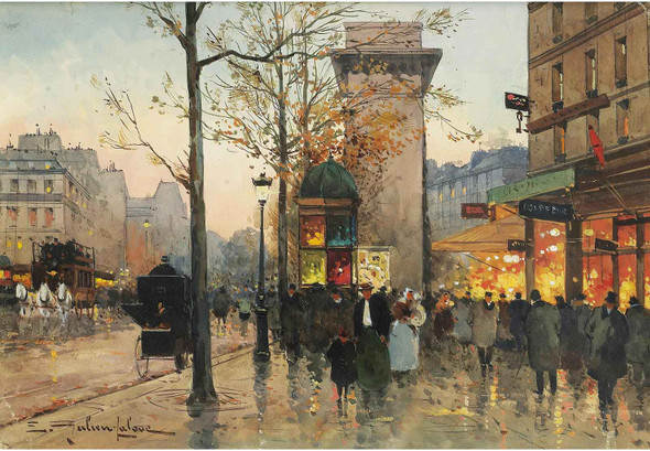 Busy Boulevard By The Porte Saint Denis by Eugene Galien Laloue