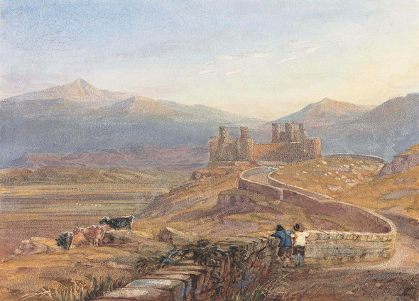 Harlech Castle From The Barmouth Road by David Cox