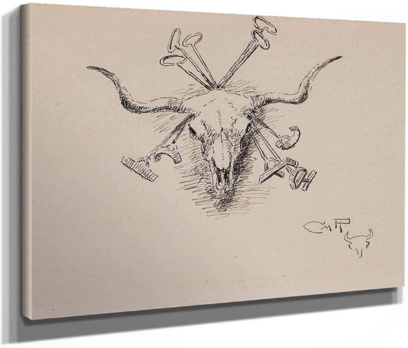 Heraldry Of The Range (Longhorn Steer Skull And Five Branding Irons) 1925 by Charles Marion Russell