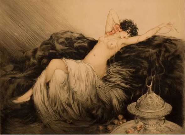 Nude With Black Fur by Louis Icart