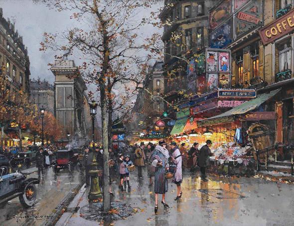 Paris La Porte Saint Martin by Eugene Galien Laloue