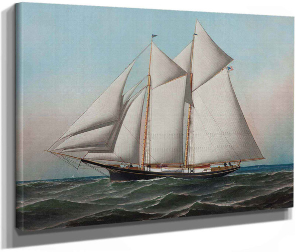 Portrait Of An American Yacht Flying Flag Of Ny Yacht Club 188 by Antonio Jacobsen