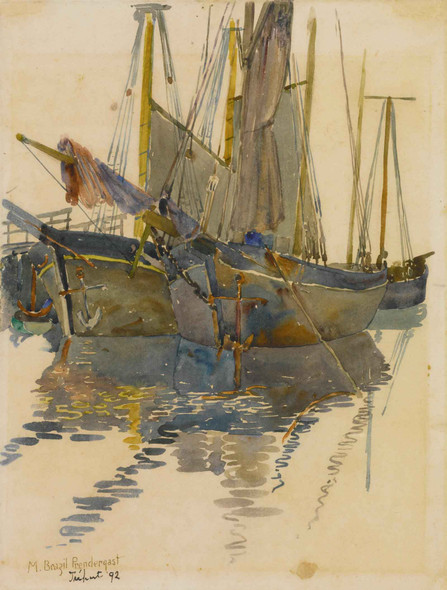 A Study Of Two Schooners (Fishing Schooners Treport) by Maurice Brazil Prendergast