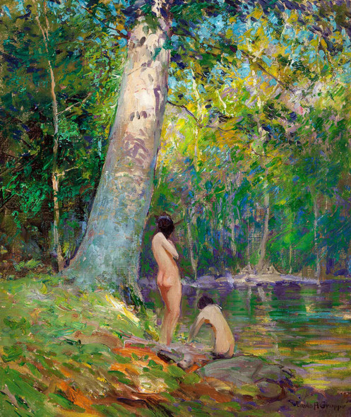 Bathers In A Wooded Landscape by Emile Albert Gruppe