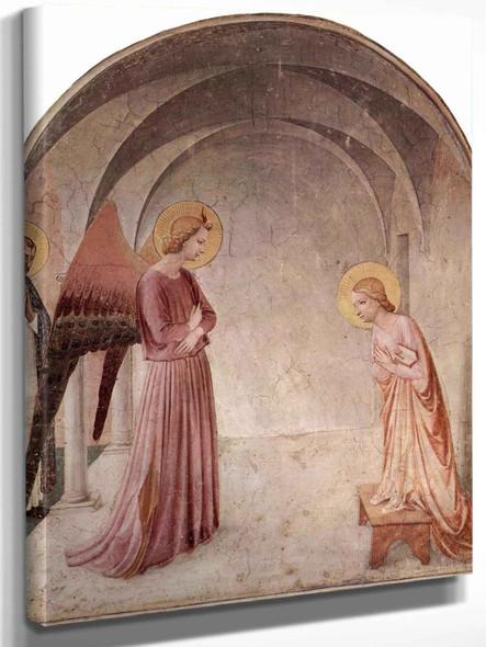 Freskenzyklus Im Dominikanerkloster San Marco In Florenz Szene Verkündigung Mit Hl Dominikus by Fra Angelico