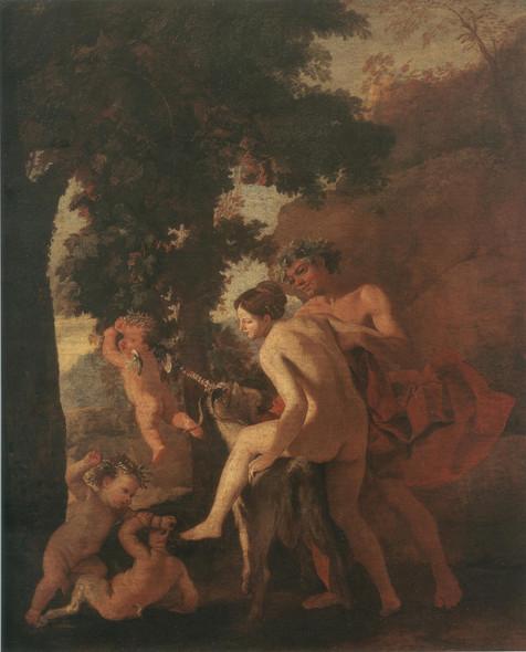 Nymphe Chevauchant Un Bouc Ou Venus Faune Et Putti by Nicholas Poussin