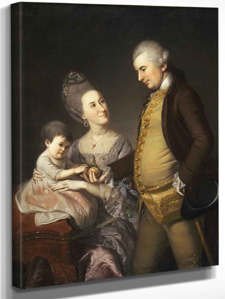 Portrait Of John And Elizabeth Lloyd Cadwalader And Their Daughter Anne by Charles Wilson Peale