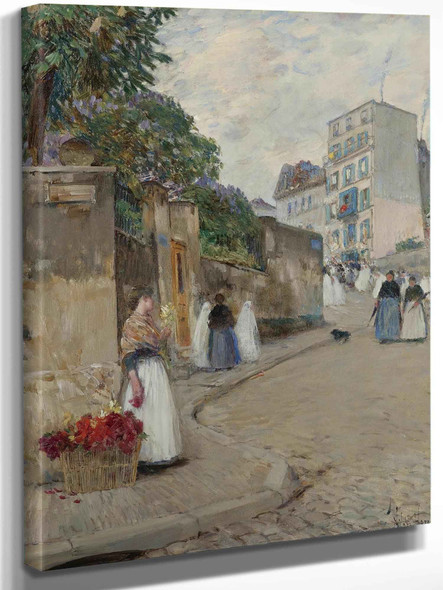 Rue Montmartre Paris by Childe Hassam